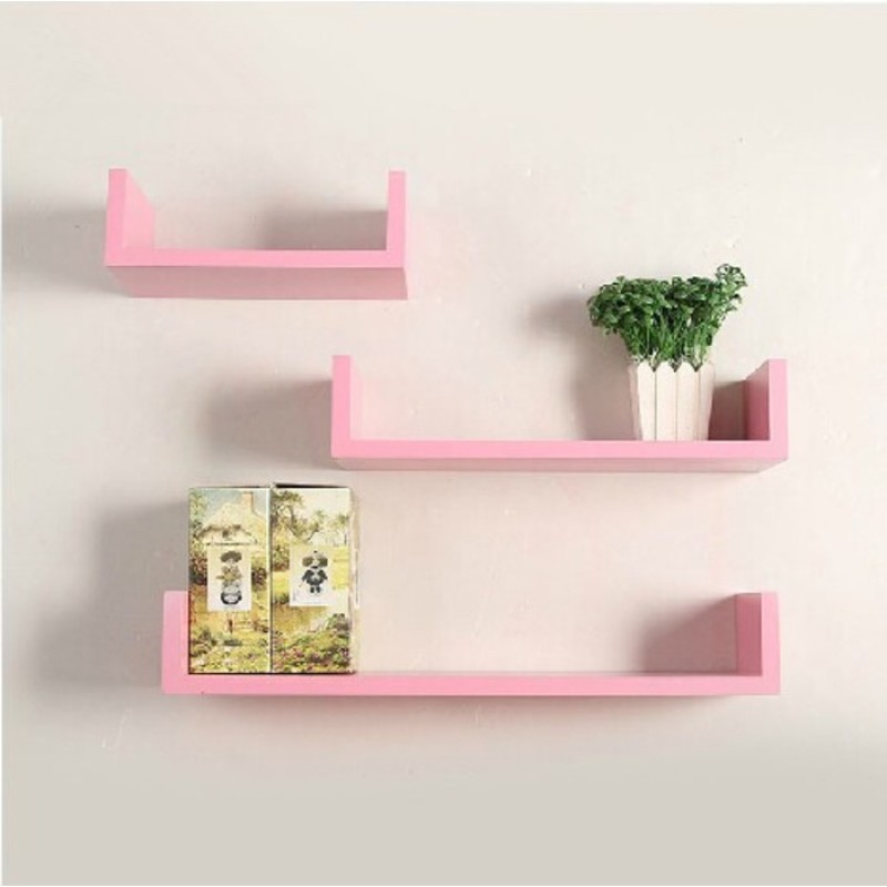 onlineshoppee-wooden-wall-shelfnumber-of-shelves-3-pink