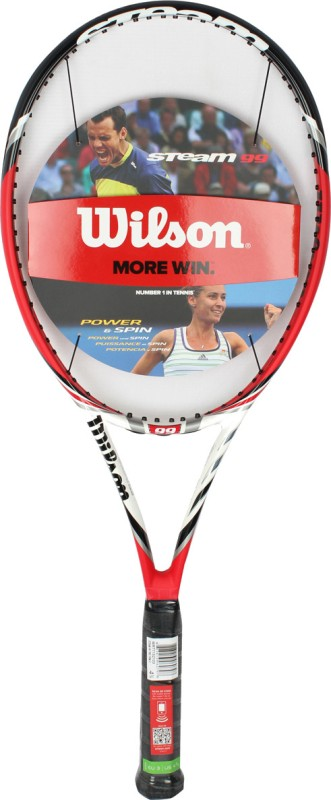 Wilson Steam 99 TNS Red, Black, White Strung Tennis Racquet(350 g)