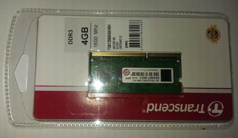 Transcend DDR3 1600mhz DDR3 4 GB (Single Channel) Laptop (TS512MSK64V6H)(Green)