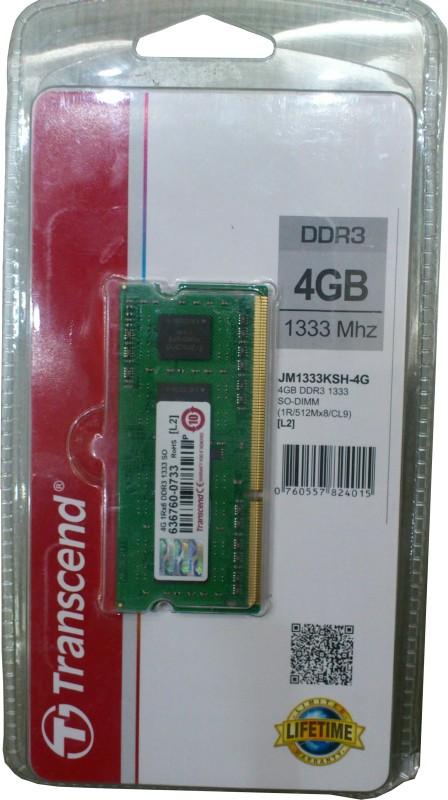 Transcend JetRam DDR3 4 GB Laptop DRAM (JM1333KSH-4G) image