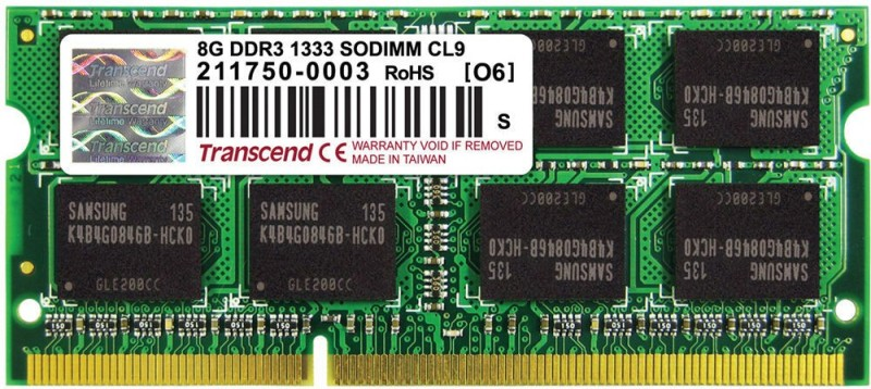 Transcend Low Voltage DDR3 8 GB (Dual Channel) Laptop (TS1GSK64W6H)(Green)