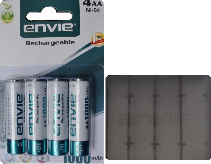 Envie Carry Case (1pc.) + AA Size 1000 mA (4pcs.) Rechargeable Ni-Cd Battery