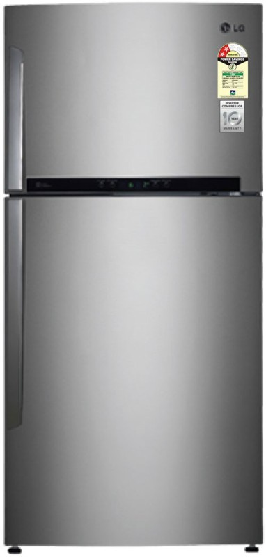LG 606 L Frost Free Double Door Refrigerator(Shiny Steel/Platinum Silver...