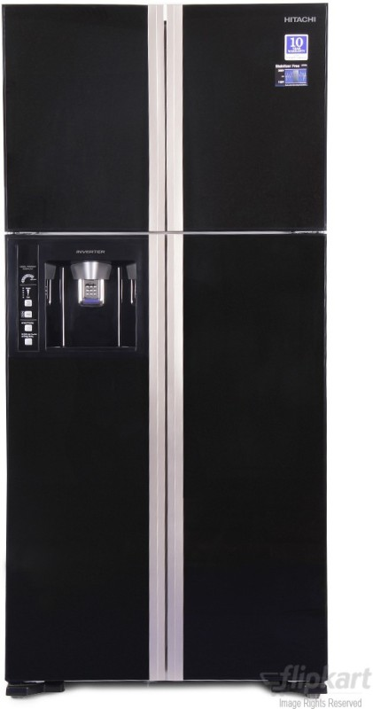 Hitachi 586 L Frost Free Side by Side Refrigerator(Glass Black,...