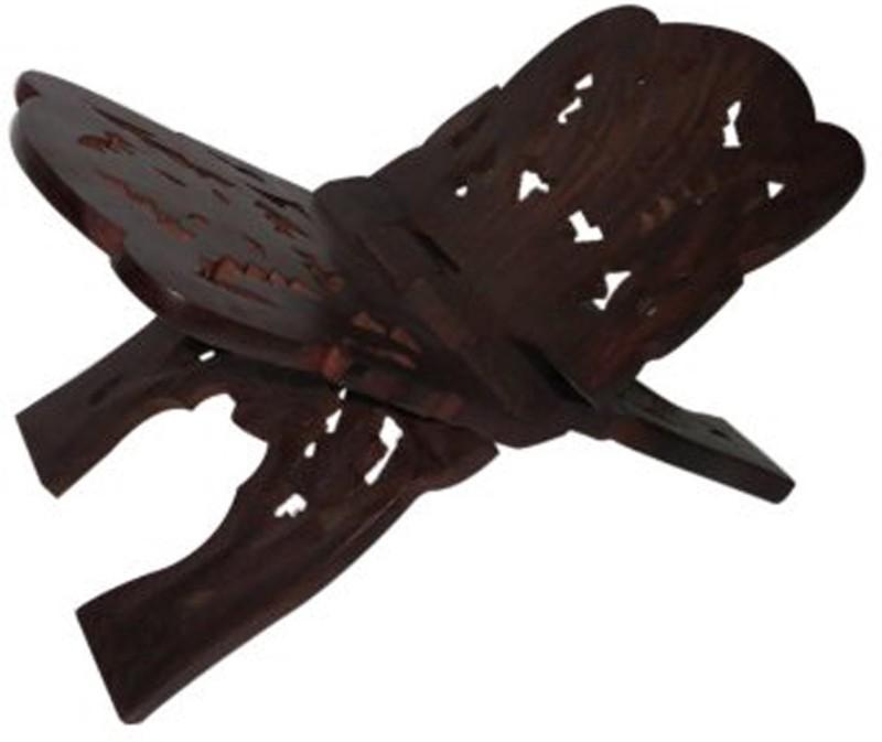Craftiram Wooden Handcrafted Book Stand Rehal Wooden Black Rehal(Width (Open) = 29 cm : Height (Open) = 18 cm)