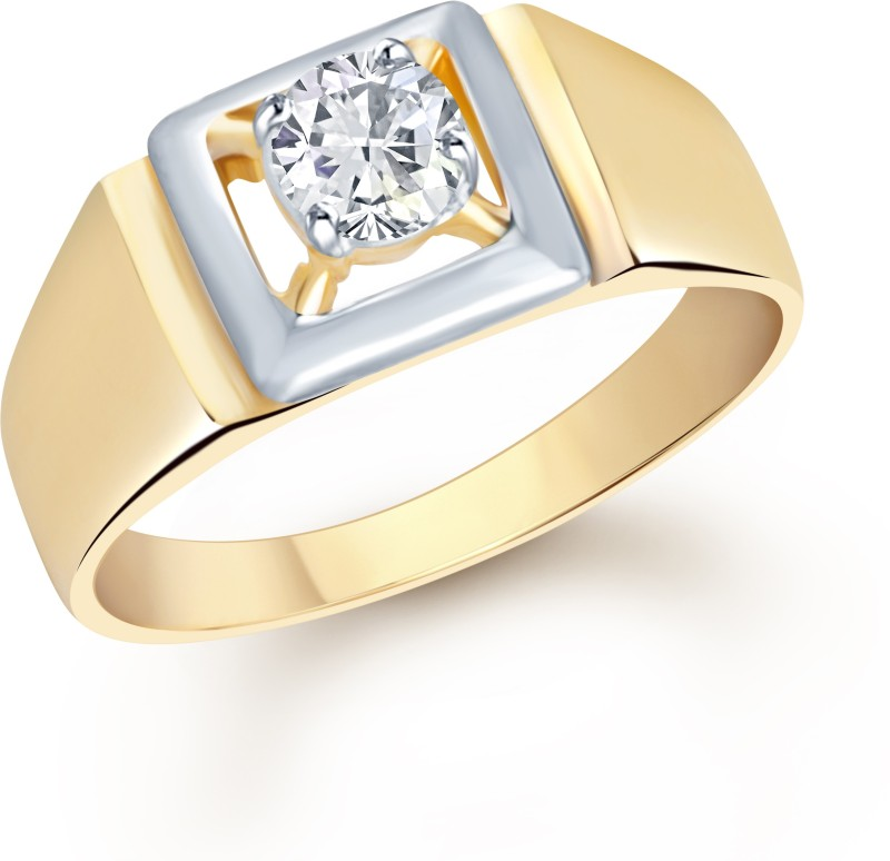 VK Jewels Solitaire Alloy Cubic Zirconia 18K Yellow Gold Plated Ring