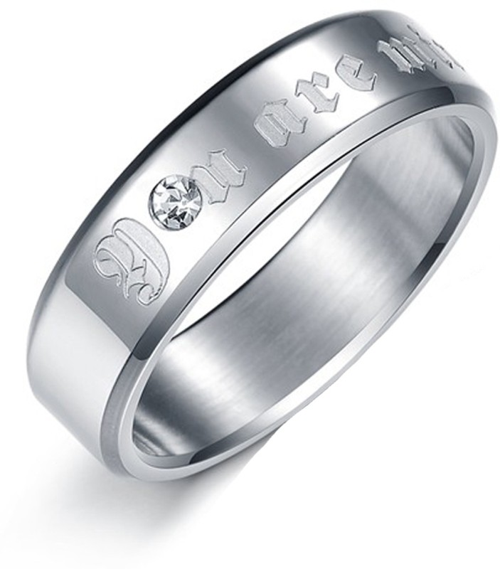 Aaishwarya You Are Mine Engraved Finish Mens Promise Band Stainless Steel Crystal Silver Plated Ring