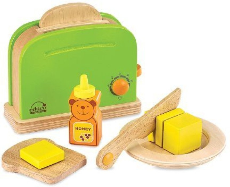 Educo Wooden Toaster with 4 Fun Accessories