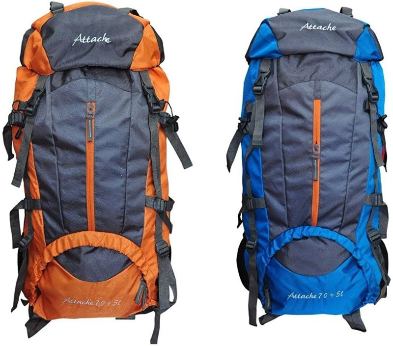 Attache 1021R Climate Proof Rucksack, Hiking Backpack 75Lts (Orange & Blue) Set of 2 With Rain Cover … Rucksack  - 75 L(Multicolor)