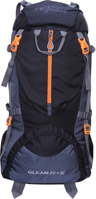 Gleam 0109 Climate Proof Mountain / Hiking / Trekking / Campaign Bag / Backpack 75 ltrs Black & Grey with Rain Cover Rucksack - 75 L(Multicolor)