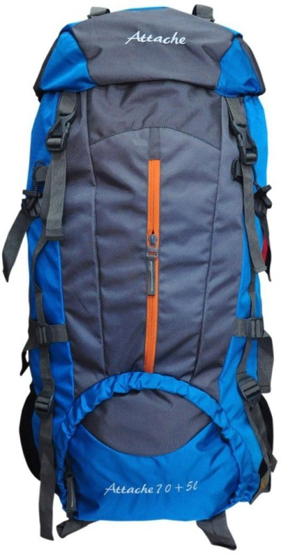 Attache Climate Proof Rucksack, Hiking Backpack 75Lts Blue & Grey With Rain Cover Rucksack - 75 L(Blue)