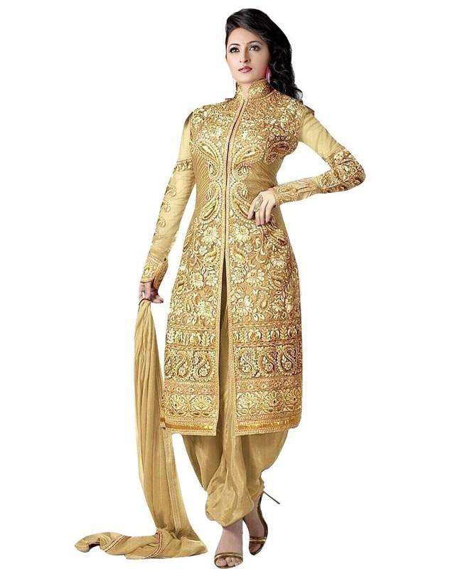 Bollywood Designer Georgette Embroidered Salwar Suit Dupatta Material(Un-stitched)