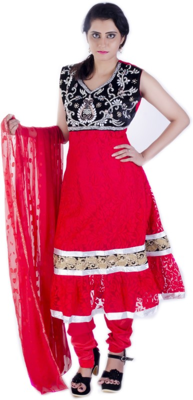 Ruby's Collection Embroidered Kurti & Salwar(Stitched)