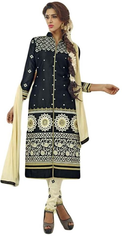 Elevate Women Cotton Embroidered Semi-stitched Salwar Suit Dupatta Material, Salwar Suit Material,...