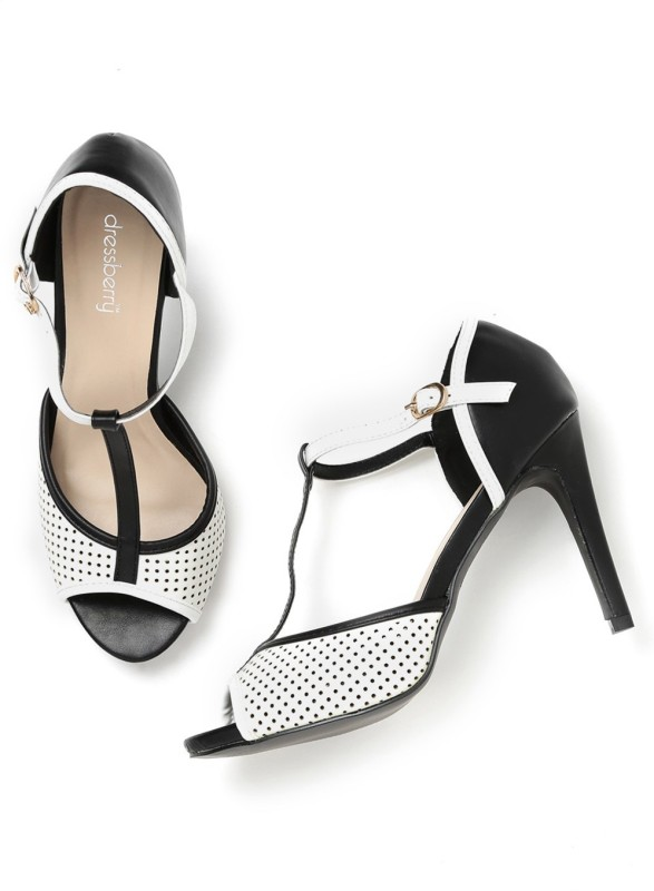 Dressberry Women White::Black Heels