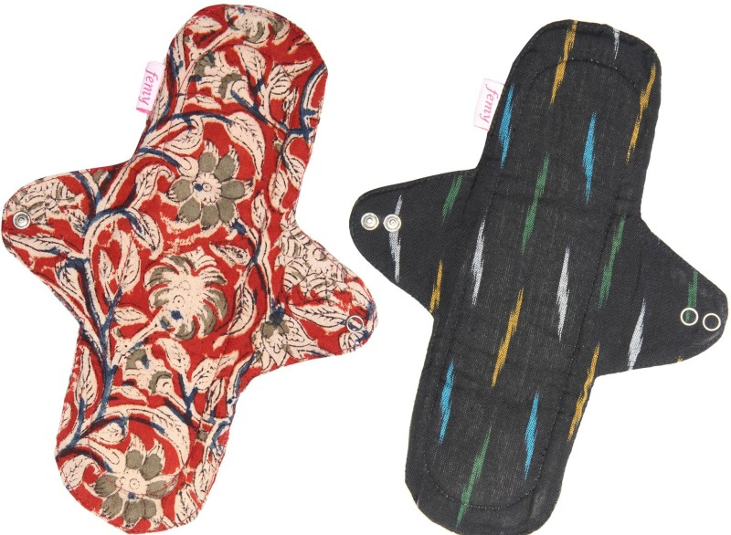 Femy Washable & Reusable Cloth Pad Pack of 2 -Kalamkari Maroon & Ikkat Black Sanitary Pad(Pack of 2)