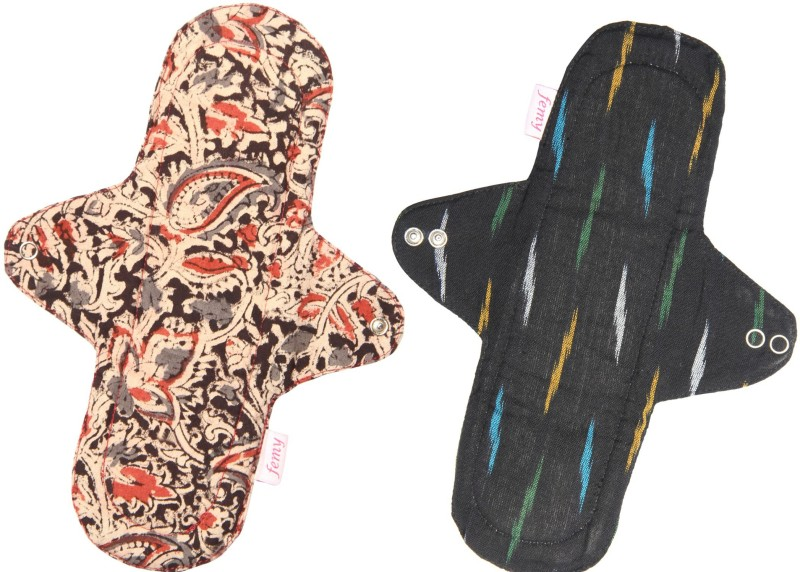Femy Washable & Reusable Cloth Pad Pack of 2 -Kalamkari Black & Ikkat Black Sanitary Pad(Pack of 2)