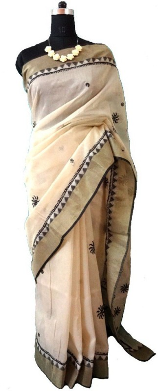 Dream's Designer Embroidered Lucknow Chikankari Shimmer Fabric, Poly Chanderi Saree(Black, Beige)