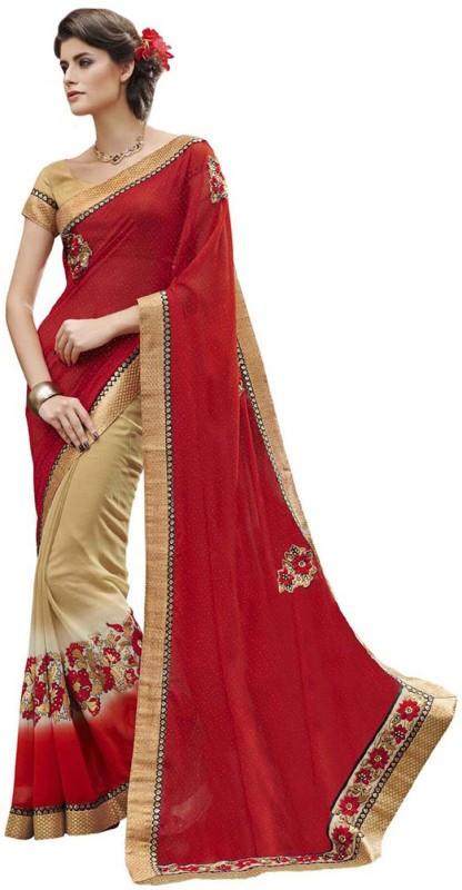 Desi Butik Self Design Fashion Georgette, Chiffon Saree(Red, Beige)