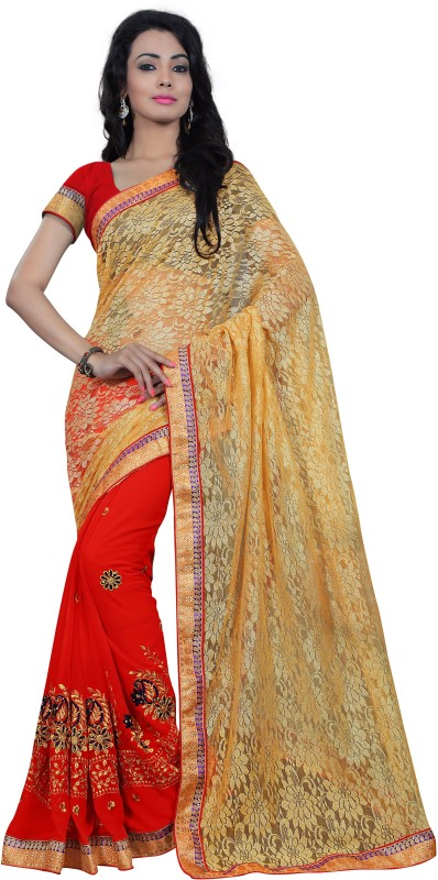 Chirag Sarees Embroidered Fashion Net Saree(Multicolor)