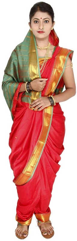 Womens Cottage Solid Assam Silk Art Silk Saree(Red)