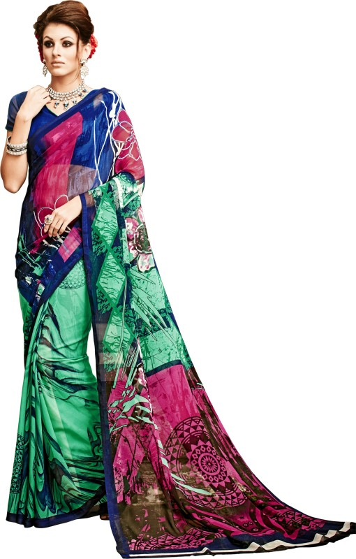 Khushali Self Design, Printed Fashion Georgette Saree(Multicolor, Green)
