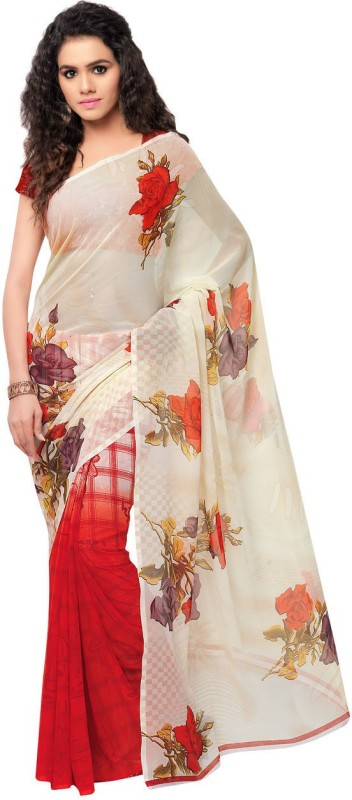 Kashvi Sarees Printed Daily Wear Synthetic Georgette Saree(Red, Yellow, Brown)