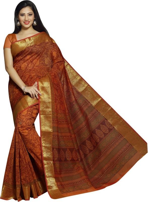 Rani Saahiba Printed Gadwal Polycotton Saree(Orange)