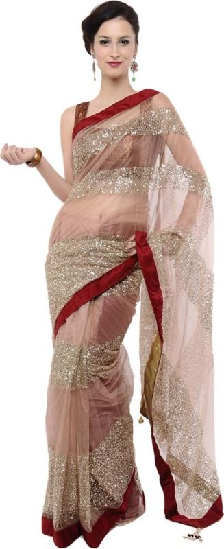 Indrani Solid Bollywood Chiffon Saree(Multicolor)