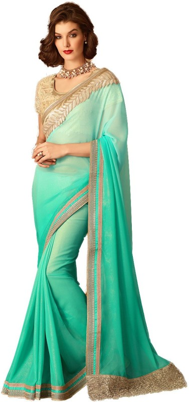 M.S.Retail Embroidered Bollywood Georgette Saree(Green)