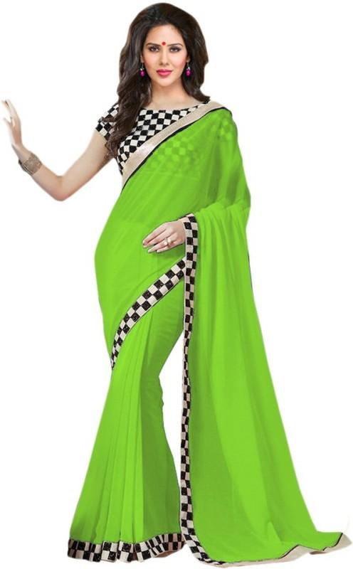 Saumya Designer Self Design Bollywood Poly Georgette Saree(Green)