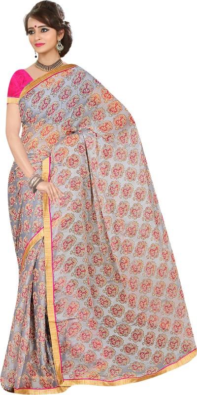 Khoobee Self Design, Printed Fashion Cotton Blend Saree(Multicolor, Grey)