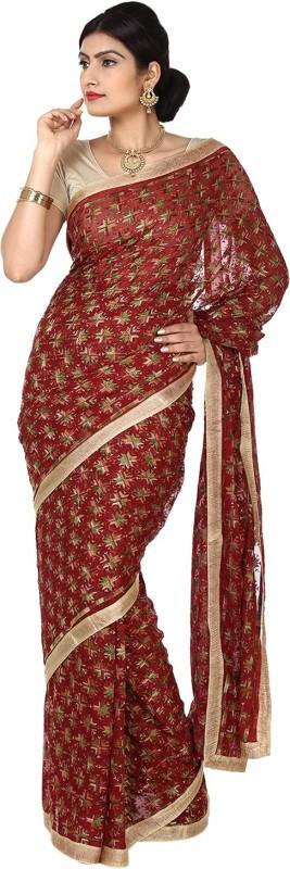 Ethnic Bliss Lifestyles Self Design Fashion Handloom Chiffon Saree(Maroon)