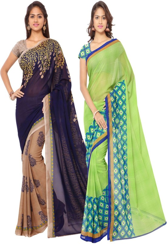 Kashvi Sarees Printed Daily Wear Georgette Saree(Pack of 2, Multicolor)