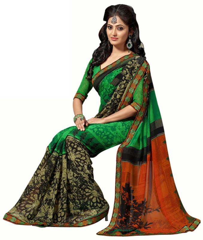 Jiya Self Design, Printed Fashion Poly Georgette Saree(Multicolor, Green, Orange)