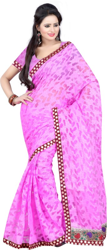 Indrani Printed Bollywood Brasso Saree(Pink, Maroon)