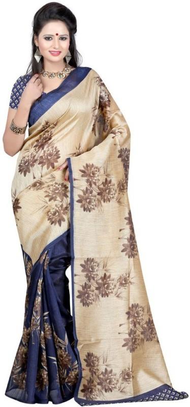 Aksh Fashion Printed Bhagalpuri Poly Silk Saree(Multicolor)