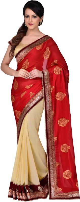 Shonaya Self Design, Embroidered Fashion Georgette, Satin, Crepe Saree(Red, Beige)