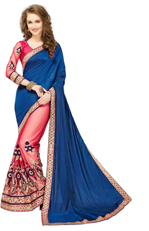 Glory Sarees Embroidered, Embellished Fashion Silk, Net Saree(Multicolor)