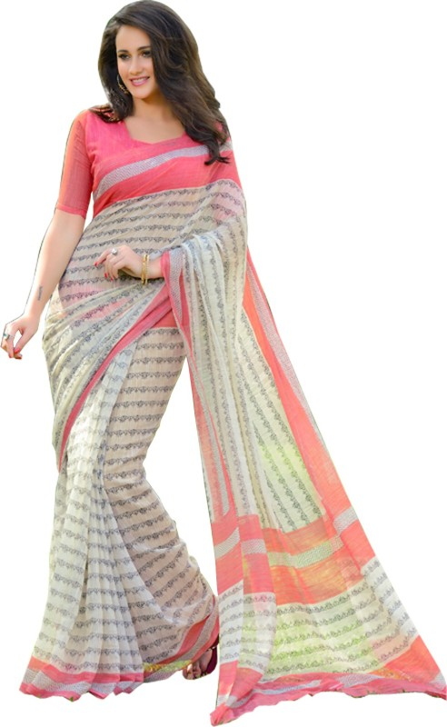 Helixenterprise Printed Fashion Handloom Cotton Blend Saree(Pink)