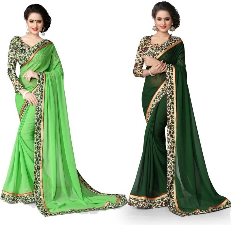 Indianbeauty Printed Fashion Chiffon Saree(Pack of 2, Dark Green, Light Green)
