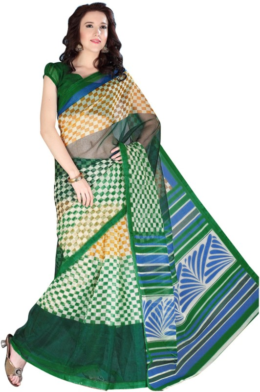 Khushali Self Design, Printed Fashion Art Silk Saree(Green, Multicolor)