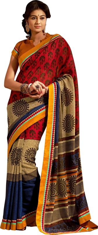 Khushali Self Design, Printed Fashion Art Silk Saree(Multicolor, Yellow)