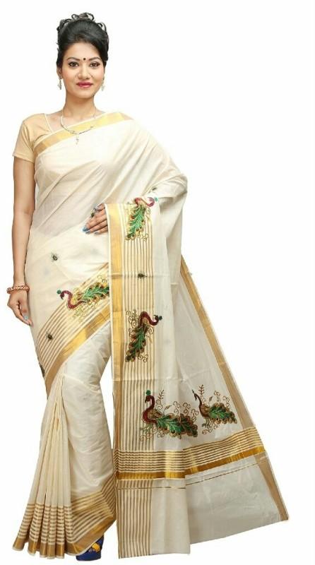 Selvamani Tex Striped, Embroidered, Self Design Fashion Cotton Saree(Beige, White, Gold)
