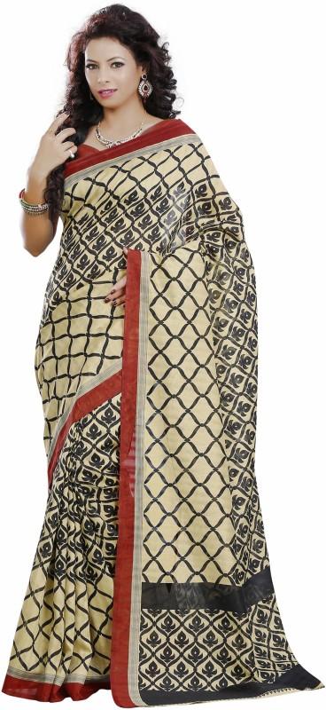 Khushali Self Design, Printed Fashion Art Silk Saree(Beige, Black, Red)