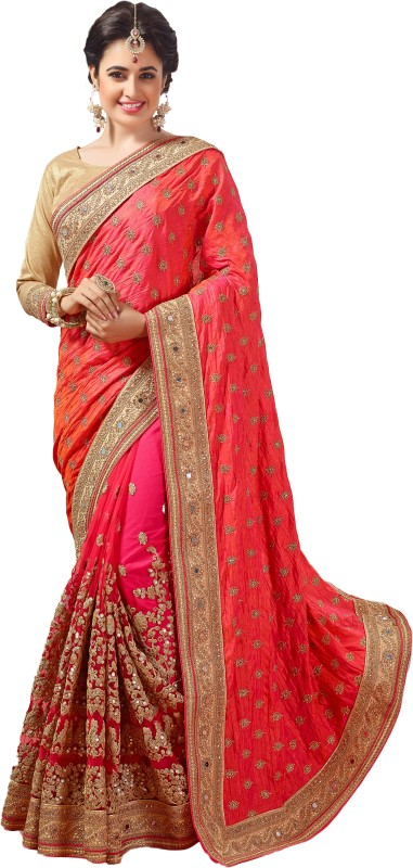 M.S.Retail Embroidered Bollywood Dupion Silk, Net Saree(Pink)