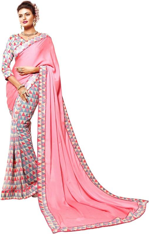 Khoobee Self Design, Printed Fashion Georgette, Crepe, Silk Saree(Pink, Multicolor)