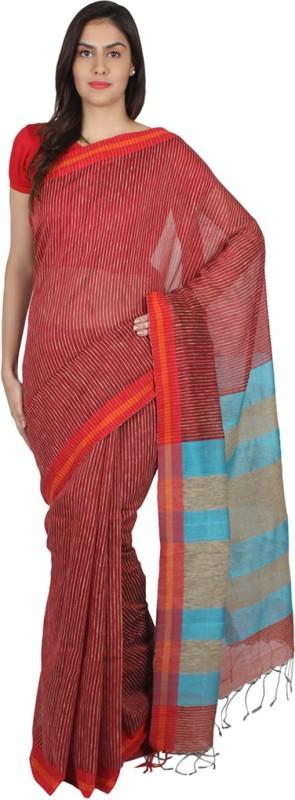 Slice Of Bengal Striped That Silk Cotton Blend Saree(Maroon)