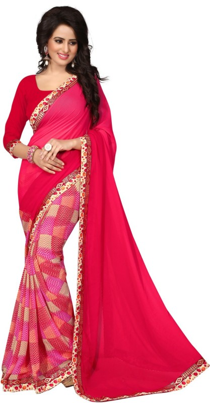 Style U Embellished Bollywood Georgette Saree(Red)