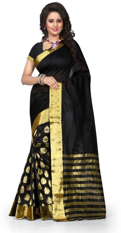 Style U Embellished Banarasi Poly Silk Saree(Black)